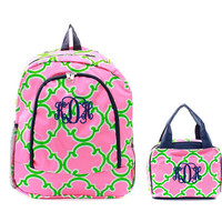 Personalized With Embroidery Hot Pink, Lime Green, and Navy Blue Geometric Print School Backpack and Optional Lunch Bag
