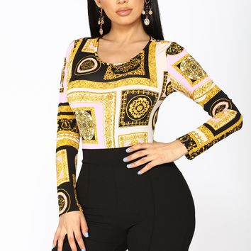 Work Of Art Long Sleeve Bodysuit - Black/Yellow