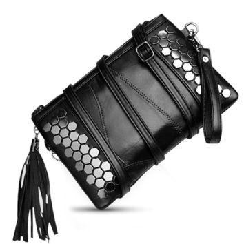 2017 Studded Leather Envelope Rivet Clutch Famous Luxury PU Leather Bags Women Messenger Celebrity Bag