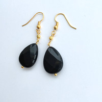 Black Jade Earrings,Black Crystal Earrings,Gold Earrings,Gold Plated Earrings,Crystal Earrings,Black Earrings,Drop Earrings