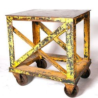 Style de Vie - Vintage Industrial Table on Casters - Salvage Furniture - Store