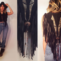 Vintage 1970s 1980s Concho Beaded Long Gypsy Fringe Vest Top || Size XS to S Corsetted Hippie Corset Lace Up Snap Button