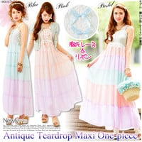 Pastel colors MIX☆Front lace retro style tiered maxi one-piece◆6/30 ships planned