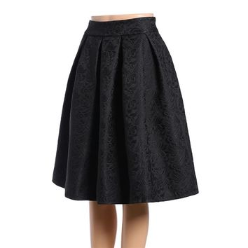 Fashion  Designer Brands  Women Black Knee Length A Line Elegant Skirt
