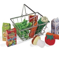 Toy Shopping Basket with Play Food
