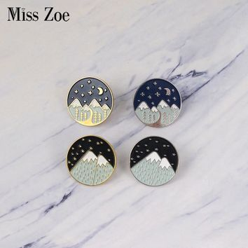 Snow Mountain enamel pins Gold silver starry night moon badge brooch Lapel pin Denim Jeans shirt bag Nature jewelry Gift for kid