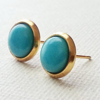 Turquoise Earrings - Turquoise Earring - Gold and Turquoise Studs - Small Turquoise Studs - Tiny Turquoise Studs