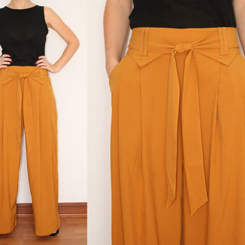 Wide Leg Pants Palazzo Pants in Mustard Yellow for Women