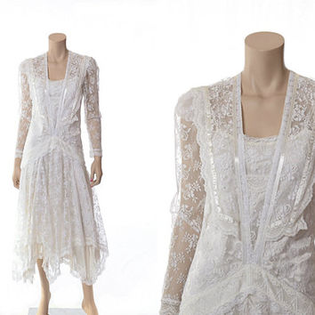 Best jessica mcclintock wedding dresses products on wanelo vintage 80s sheer white lace wedding dress 1980s jessica mcclint junglespirit Image collections