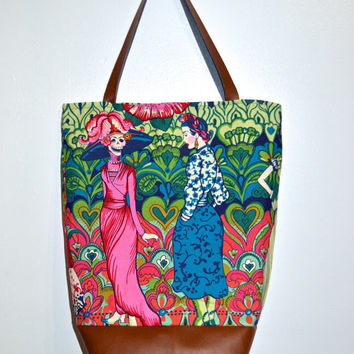 Faux Leather Tote Bag, Frida Tote Bag, Extra Large Tote, Sugar Skull Tote Bag, Cotton Tote Bag, Large Tote Purse, Women's Tote, Frida Kahlo