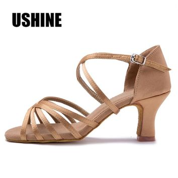 Beige Without Knot Heel 7cm/5cm Satin Salsa Latin Dance Shoes Woman Zapatos De Baile Latino Mujer WZJ Free Shipping
