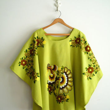60s 70s Green Peacock Embroidered Tunic Festival Top