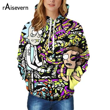 Cartoon Rick and Morty Print 3D Hoodie Women Hooded Pullover