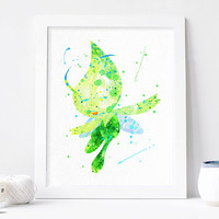 Celebi Pokemon art print, Pocket Monsters Alternative print pokemon watercolor pokemon wall art pokemon Nursery Print, Nursery pokemon decor