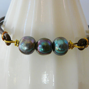 Pearl Leather Bracelet, 3 Large Peacock Freshwater Pearl, Antique Buckle Stacking Bracelet Friendship