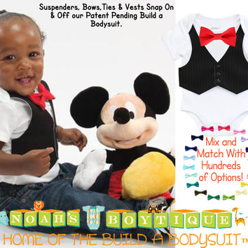 Baby Boy Vest Bow Tie Outfit Black Vest Red Bow Tie