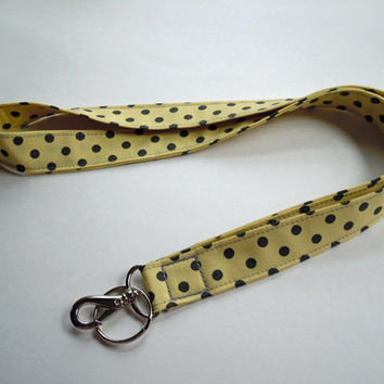 Lanyard in Yellow Charcoal Polka Dots PERSONALIZED With NAME Perfect for Mom, Teacher, Student, Nurse