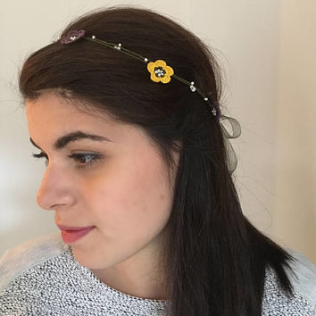 Wild Flower Headband, Boho Headband, Crochet Hairwrap, Flower Headpiece, Beaded Headwrap, Wedding Headpiece, Flower Girl, Christmas Gift
