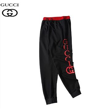 GUCCI & NY Fashion New Embroidery Letter Print Women Men Sports Leisure Pants Black