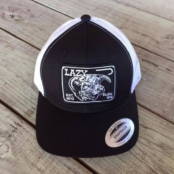 """Lazy J Black and White Elevation Hereford Patch Cap (3.5"""")"""