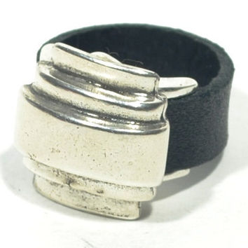 black leather ring * chunky silver ring * chunky leather ring * brown ring * leather ring for men * mens ring * ring for him * gifts for dad
