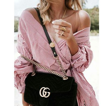 GUCCI Double G Women Shopping Leather Metal Chain Crossbody Satchel Shoulder Bag Black