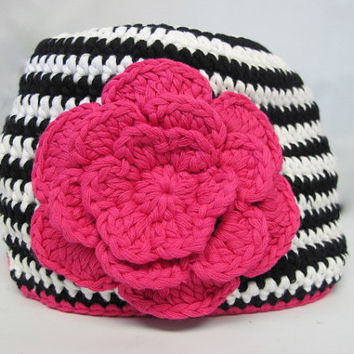 Crochet Baby Hat, Black and Pink Crochet Hat, baby hat, Crochet hat, baby crochet hat, beanie hat