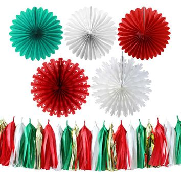 Christmas Party Decoration Kit Paper Fan Ribbon Tassel Garland Photo Booth Backdrop Red Green White