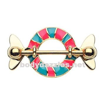 Sweet Tooth Candy Wrapper Nipple Shield Ring 316L Surgical Steel Nipple Barbells