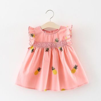 Cute Baby Girls Clothes 2018 Summer Baby Girl Dress Pineapple Infant Dress Newborn Cotton Lace Ruffles Kids Dresses for Girls MDY098-Pink