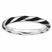 Sterling Silver Stackable Expressions Twisted Black Enameled Ring