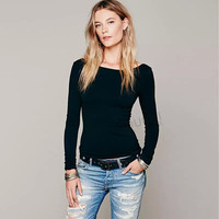 Sexy Solid Color Backless Bodycon Long Sleeve blouse top