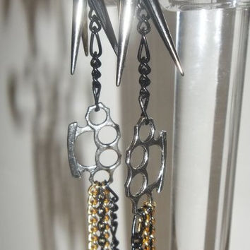 Black Silver Gold Chain Spiked Brass Knuckle Dangle Earrings