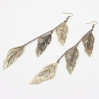Metal Leaves Tassel Earrings  | LilyFair Jewelry