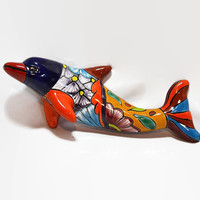 Dolphin Wall Hanging - Mexico Pottery -Bright Colored  Porpoise - 3D  Tiki Bar Decor