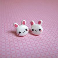 White Bunny Rabbit Cute Kawaii Earring Studs by DoodieBear on Etsy
