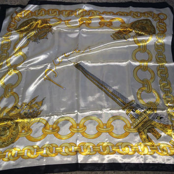 Sale!! Vintage J MICO SANCHO Paris France Eiffel tower scarf bandana