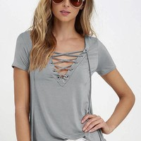 Sexy Women's V Neck Top Shirt Sleeve Bandage Shirts ( Gray )S-5XL