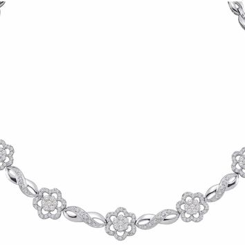 14kt White Gold Womens Round Diamond Infinity Flower Cluster Necklace 2.00 Cttw