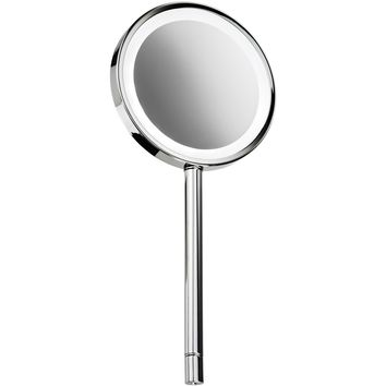 DWBA Round Hand Held Cosmetic Makeup LED Light Magnifying Mirror 3x, Chrome