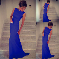 Sexy Women Sleeveless Bandage Bodycon Evening Party Cocktail Maxi Dress Blue