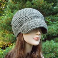Gray Beige Crochet Hat - Womens Beanie with Visor - Ladies Greige Cap