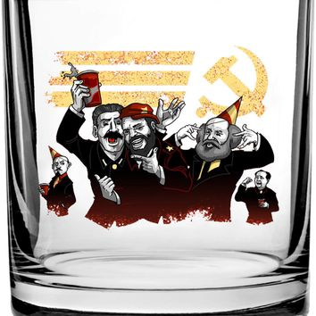 Communist Party Funny Pun Famous Communist Leaders Partying - 3D Color Printed Scotch Whiskey Glass 10.5 oz
