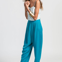 Teal High Waist Trouser Pant