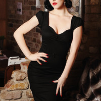 Pinup rockabilly black cocktail dress