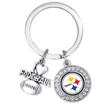 Silver Metal Pittsburgh Steelers Logo Pendant Keychain FIT City Football Sports Gift Jewelry Key Chain