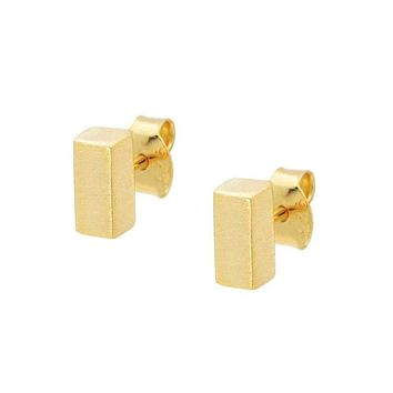 Solid Gold Bars Stud Earrings in Sterling Silver