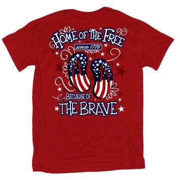 Sweet Thing Home of the Free Because of the Brave USA American Flag Flip Flops Girlie