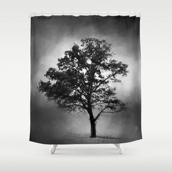 Black and White Cotton Field Tree Shower Curtain by Jai Johnson