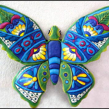 "Butterfly Wall Decor- 24"" Painted Metal Outdoor Garden Art - Tropical Design - M900-BL-24"
